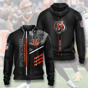 Cincinnati Bengals Hoodie Football Zipper Sweatshirt Casual Sports Hooded Jacket