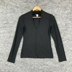 H&M Womens Top Size Small Black Long Sleeve Stretch Halter Neck 145.30