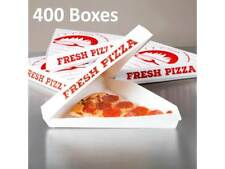 (400-Pack) Choice White Clay Coated Clamshell Pizza Slice Box