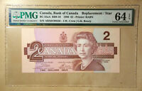 Canada BC-55aA 1986 $2 Crow | Bouey Replacement PMG 64 EPQ S/N ARX Below 1.34M