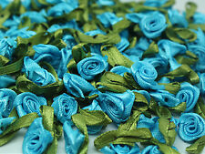 50PCS Satin Ribbon Rose Flower DIY Craft Wedding Appliques 12mm DIY blue