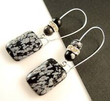 Natural Snowflake Obsidian Gemstone Dangle Earrings with Gemstone Beads #1387