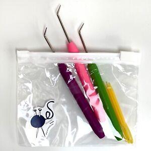 KnitUK Knitting Loom Hooks Set of 3. Purple, Pink & Green Picks and 3 needles.