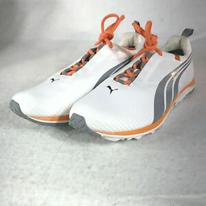 Puma Faas Lite Golf Shoes White/ Tradewinds Grey/ Orange accents, Men's Size 10M