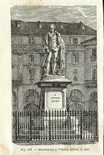 Stampa antica ASTI Monumento a Vittorio Alfieri Piemonte 1889 Old antique print
