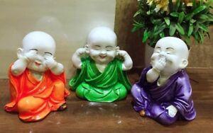 3 Baby Joyful Monk Laughing Baby Buddha Figurine colourful gift item home decor