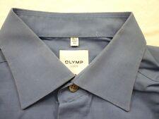 E7861 Olymp Luxor Businesshemd Kombimanschette 42 blau meliert Unifarben Neuwer.