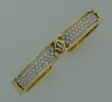 c.1980s CARTIER 2.34 cts DIAMOND YELLOW GOLD BANGLE BRACELET C de Cartier Signed