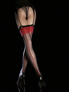 Fiore Obsession Anais Designer Stockings 20 Denier Seamed Suspender Stockings