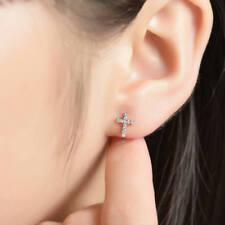 2 CT Diamond D/VVS1 Cross Design Women Men 14k White Gold Finish Stud Earrings