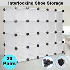 White Interlocking Cube Large 20 PAIR Shoe Organizer Storage Rack Stand Display