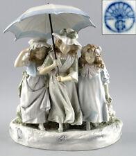 Porzellan Figurengruppe Vase 3 Mädchen mit Schirm Heubach Lichte 99840057