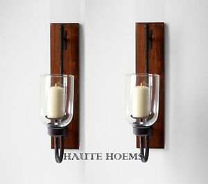 "NEW TUSCAN FRENCH ANTIQUE SCROLL 25""H IRON WOOD Candle Holder Wall Sconce SET/2"