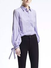 Banana Republic Riley-Fit Pleated Bell-Sleeve Shirt Blouse Top NWT$78 SZ 6