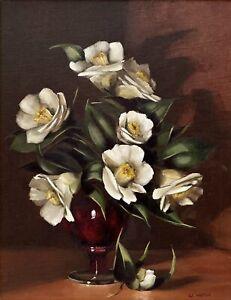 """Val Walton (Australian) """"Camelia's in Red Vase"""" Untitled Oil on Board Painting"""