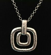 VINTAGE Bill Blass Silver-Tone Nested Squares Pendant Necklace