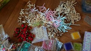Arts And crafts Bargain Job Lot Stamps Sequins Buttons Pegs ribbons beads