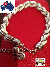 WHITE AND SILVER INTERTWINDED SPECIAL MOTHER BRACELET GREAT GIFT IDEA AUS 165W
