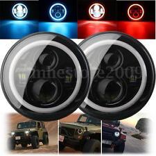 7'' LED Hi-Lo Beam Headlight Round Halo Angle Eyes Blue/Red For Wrangler JEEP