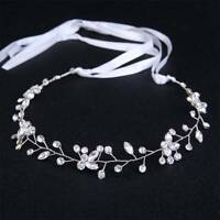 Bridal Hair Accessories Wedding Headpiece Pearl Crystal Flower Headband Tiara
