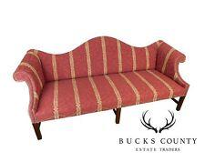 Chippendale Style Fine Custom Quality Mahogany Camel Back Sofa