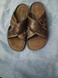 Rockport Brown Leather Adjustable Slip On  Sandals Shoes Men's 10 M