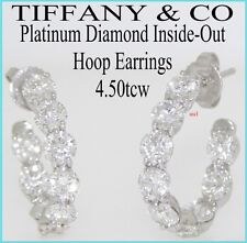 TIFFANY & CO PLATINUM DIAMOND INSIDE OUT HOOP EARRINGS  4.50tcw  18 DIAMONDS