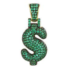 Bubble Dollar Sign Pendant 925 Sliver 14k Gold Finish Green Simulated Diamonds