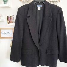 Pendleton womens 100% wool one button shoulder pad black blazer size 16