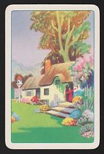 1 Single VINTAGE Swap/Playing Card THATCH COTTAGE LADY & BIRD HOUSE