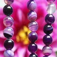 Lots 4-12mm Nice Natural Purple Striped Agate Round Gemstone Loose Spacer Beads