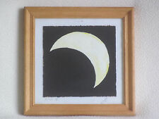original painting PARTIAL ECLIPSE astronomy sun moon framed glazed