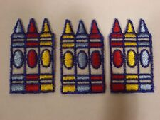 CRAYONS ON FELT EMBROIDERY APPLIQUE PATCH EMBLEM LOT (36 DOZEN)