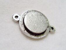 Nunn Design Antique Silver Plated Mini Raised Tag Circle Bezel Link 25x18mm