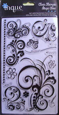'Flourishes'  Clear  Acrylic Stamps Inque Boutique  NIP