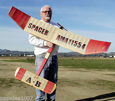 """Model Airplane Plans (FF): Vintage SPACER A-B 66"""" Wingspan by Sal Taibi (1950s)"""