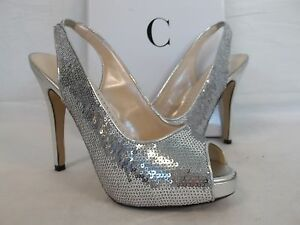 Caparros 6.5 M Channing Silver Satin Open Toe Sling Backs Heels New Womens Shoes