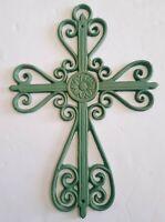 Green Wall Hanging Decor Decorative Christian Spiritual Metal Pearl Cross