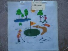 """Painted needlepoint canvas 15""""x15"""" """"golf hole""""1o count mono mesh vintage"""