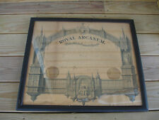 Old Vtg 1880 Royal Arcanum Subordinate Council Chapter Framed Picture