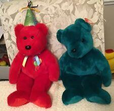 """TY Beanie Babies """"TEAL TEDDY"""" Teddy Bear and """"HAPPY BIRTHDAY"""" Red Bear"""