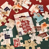 46pcs Retro Jigsaw Stickers Scrapbooking Decoration Self Adhesive Diary Stickers