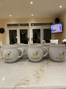 pottery barn christmas reindeer rudolph large mugs RARE SET OF 9