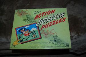 "Rare Vintage Milton Bradley ""Jiggle-Saw"" Action Jigsaw Puzzle 1950's 4125-2"