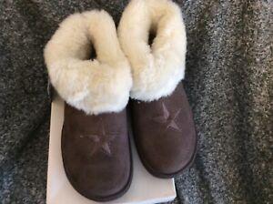 Jyoti  ladies luxury slippers size 5 dark brown fur lined BNWTS