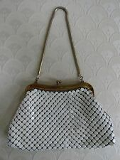 Vintage 50's-60's Whiting & Davis Purse White Enamel Metal Mesh Gold Snake Chain