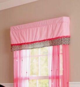 Summer Window Valance, Juliette, Pink & Black, NEW