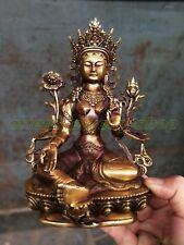 Tibetan Buddhism Bronze Kwan-yin White Tara Buddha Old Temple God Statue