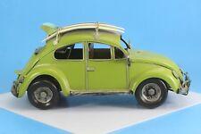"Vintage Green Volzwagon Metal Vw Bug With Surf Boards 12"" X 5""."