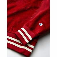 $70 Champion LIFE Men's Corduroy Crew-Large Center Chest C Logo Red Size Small